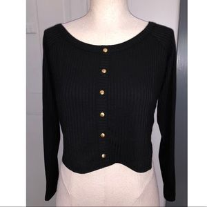 NWT asos long sleeve ribbed crop w buttons